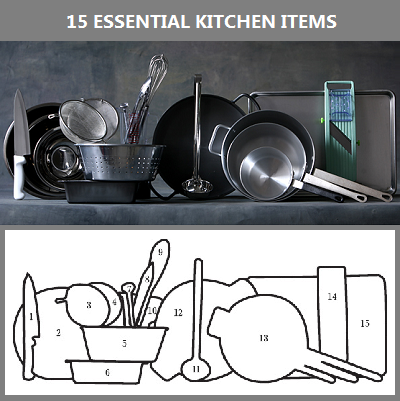KEY TO PHOTOGRAPH: (1) 8-inch chef's knife; (2) 3 stainless steel mixing bowls; (3) strainer; (4) skimmer; (5) colander; (6) loaf pan; (7) instant read thermometer; (8) 9-inch tong; (9) 12-inch whisk; (10) measuring cup; (11) ladle; (12) 14-inch skillet with handles; (13) 3 aluminum saucepans; (14) Japanese mandoline; (15) 13×18 inch sheet pan. (NY Times)
