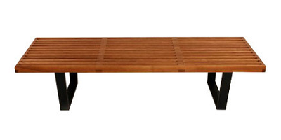 "Bethel Slatted Bench: Black birch legs and ashwood top. 60"" W x 18.50"" D x 14.5"" H (Dot & Bo)"