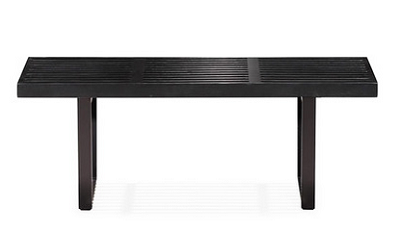"Black Fusion Bench: Elegant wood top and steel legs. 48"" W x 15"" D x 14"" H (Dot & Bo)"