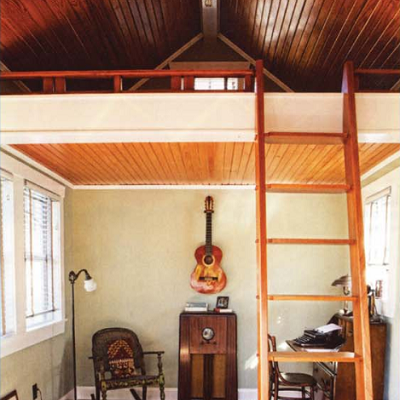 Inside the bungalito, there are many fine wood treatments in the loft, ceiling and ladder. (Red River Restorations)