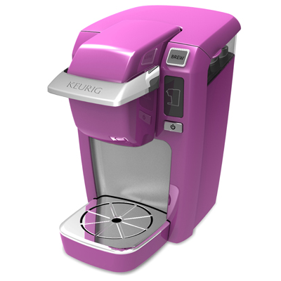 This one-cup brewer delivers coffee or other hot drinks in two minutes. Radiant orchid is one of 13 color options. (Keurig)