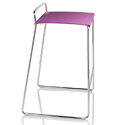 The stackable Estrosa stool comes in radiant orchid, with a chrome, aluminum or black colored base. (Alma Design)