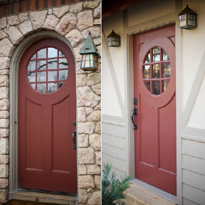 Doors match nicely, with the main house on the left and Germanic bungalito version on the right. (Red River Restorations)