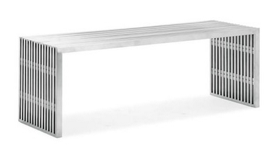 "Jacob Steel Bench: 100% stainless steel and industrial. 46.5"" W x 15.3"" D x 16.5"" H (Dot & Bo)"