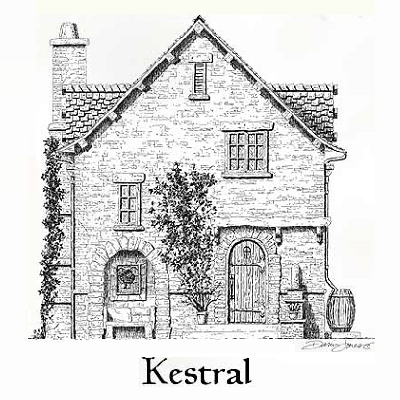 Kestral Cottage features an 800 square foot, two-story plan. There's one bedroom and bath upstairs, and a great room with dining and kitchen areas below. (Storybook Homes)