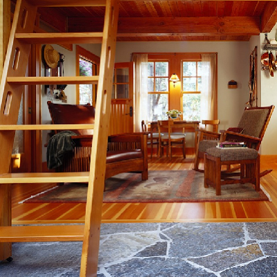 Made on Orcas Island, Washington, this substantial wood ladder has large treads and several hand-holds for safety to the second floor. (David Vandervort)