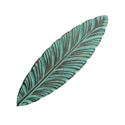 Verdigris leaves could provide a nice, classic contrast to natural wood, white or other painted cabinets. (Ann At Home)
