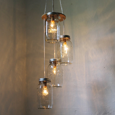 A favorite way to store food or small items, mason jars also become terrific pendant lighting. (Etsy, BootsNGus)