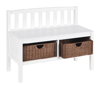 "Mudroom Bench: Wood with rattan baskets. 36"" W x 14.25"" D x 28.5"" H (Dot & Bo)"
