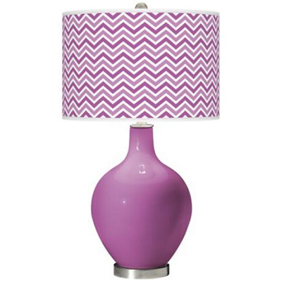 Here's a traditionally-shaped table lamp, with a radiant orchid base and matching zig-zag shade. (Lamps Plus)