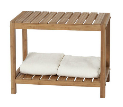 "Natural-Style Wood Bench: Eco-friendly bamboo wood. 22.5"" W x 11"" D x 15.75"" H (Dot & Bo)"