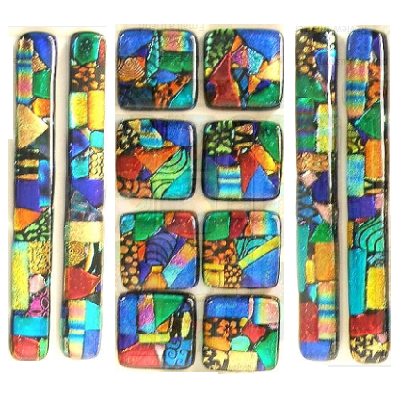 Picasso-like drawer pulls and knobs seem extraordinary. They are made with dichroic glass. (Uneek Glass Fusions)