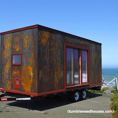 For a house on wheels, this steel-clad Mica has curb appeal. It's just 172 square feet. (Plans, Tumbleweed Houses)