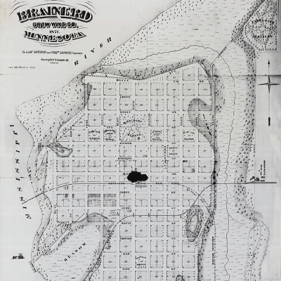 Brainerd, MN began when Northern Pacific Railroad selected its location fora Mississippi River crossing. By 1871, the undeveloped land had been platted. (City of Brainerd)