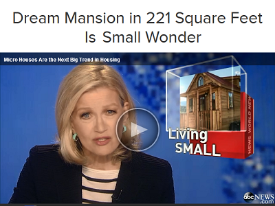 Diane Sawyer, ABC News anchor, discusses the downsizing trend and features tiny houses and their inhabitants.