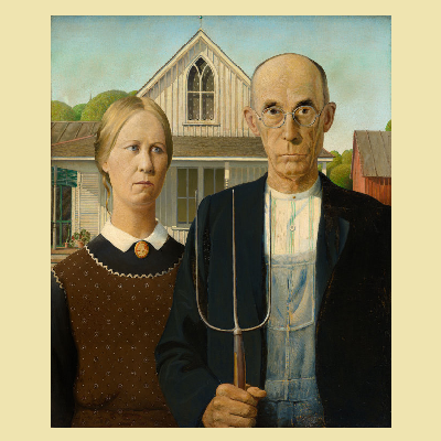In American Gothic, painter Grant Wood includes a Victorian country home with white-painted board and batten siding. (Art Institute Chicago)