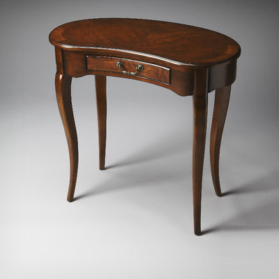 "This Butler Edgewater crescent writing desk comes with cabriolet legs. Measures 20"" D x 36"" W x 30"" H. (Wayfair.com)"