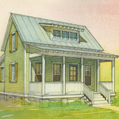 """A vaulted ceiling in the living room and sleeping loft define the open feeling of this plan, which is ideal for a starter house or vacation cabin."" It features two bedrooms and one bath, in 697 sq. ft. (Eric Moser, Katrina Cottages)"