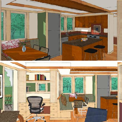 The kitchen features a lower ceiling and horizontal trellis. It leads into the built-in seating and dining area which works for everyday use or company. (House Plans)