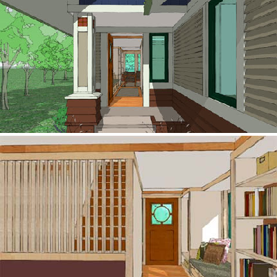 See the exterior and interior of the front entry, with the ability to pull you into the home. Note the circle etching on the front door window, a Sarah Susanka signature. (House Plans)