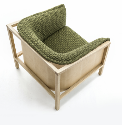 Here's the chair with green fabric, nestled in its solid Ash timber framework. (Benjamin Hubert)