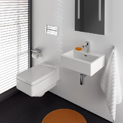 The Living design is styled on the graphical architectonic and slips into linear bathrooms lightly and sleekly. (Laufen Living)