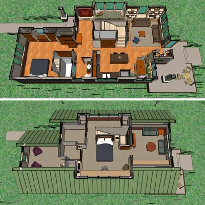 In the bungalow, there's room for a kitchen/dining area, living room and bedroom on the main floor. Upstairs is another bedroom and plenty of flexible space as well. (House Plans)