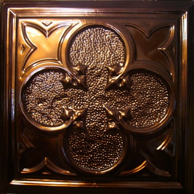 Our favorite is an antiqued lucky clover. (Metal Ceiling Express)