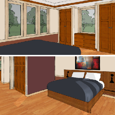 A downstairs master bedroom is filled with window light and topped by an alcove ceiling. Note the proportional built-ins, including the bed, closets and other storage. (House Plans)