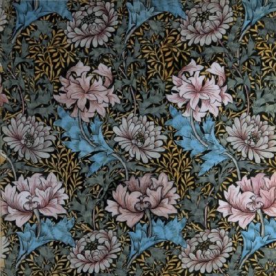Hand-drawn then painted wallpaper, from 1886. It features two distinct design layers. (William Morris Gallery)