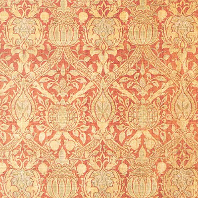 Silk velvet textile brocaded with gilt thread. It was woven and block-printed in 1884. (William Morris Gallery)