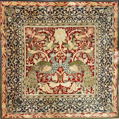 Hand-knotted textile made from woolen pile on cotton warp, sometime in the 1880s. (William Morris Gallery)