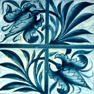 Tulip and trellis design from the 1870s. It's a hand-painted, overglaze ceramic piece. (William Morris Gallery)