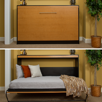 hereu0027s a horizontal murphy bed which folds sideways into a single sleeper it also