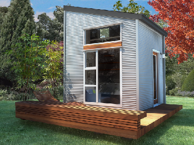 In a Nomad Live micro-sized home, it's possible to set up and live inside a container-style structure with plenty of windows. The pre-fab home has a 100 sq. ft. footprint, and may be directly shipped to you. (Nomad Homes)