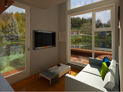 On the lower level, there's a small great room to sit and even watch TV. Outside views make a huge difference, as the home looks and feels far larger than its measurements. (Nomad Homes)