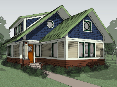 This new Craftsman style bungalow has been updated for modern living. It contains 2 bedrooms, 2 bathrooms and plenty of open space. Measures 1,600 sq. ft. (House Plans)