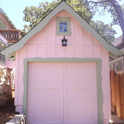 Storybook cottage owners renovated their garage with board and batten, in Carmel CA. Next renovation is a tiny house, no? Measurements unavailable. (Garden Tour)