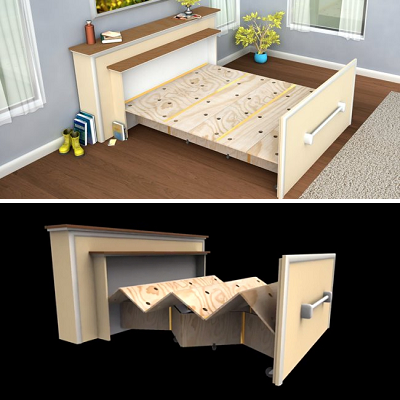 How about a folding bed for two? We hear this is comfortable, looks like a mantel during the day, and offers mantel storage. (Tiny Revolution via Tree Hugger)