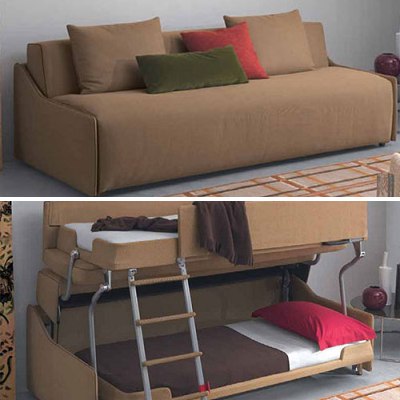 This Palazzo sofa looks cozy and is available in dozens of colors. It transforms into a bunk bed that's suitable for adults or kids. (Resource Furniture)