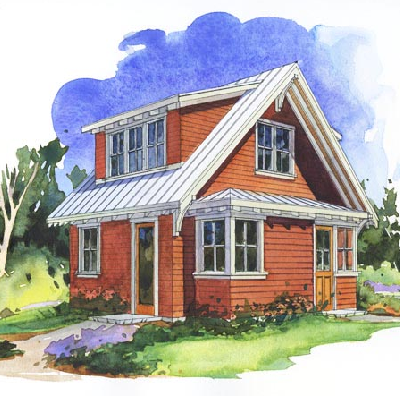 The Salal Studio features a 240 sq. ft.  upstairs studio with bath. Downstairs is a 338 sq. ft. garage and inside staircase. (Perfect Little House)