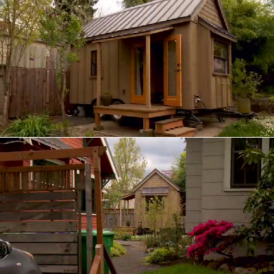 This tiny house on wheels is legally located in a backyard, with two larger foundation homes as neighbors. Tiny dwellers live there part-time, plus other countries. (PAD Tiny Houses)