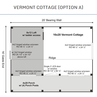 Here's the complete floor plan for the Vermont Cottage A style. (Jamaica Cottage)