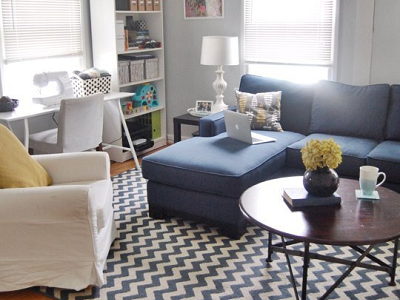 """Cristin and Zach's 676 sq. ft. home is located in Kirkwood, MO. """"We've really made sure that our home is family friendly and that we all feel comfortable living life here,"""" says Cristin. (Cristin and Zach, Apartment Therapy)"""