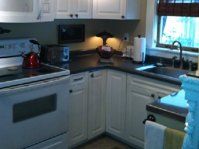 "Patricia says she likes ""to divide the space into actual rooms, using every inch for storage."". Her kitchen is well-equipped with a range and stove, microwave, full sink and separate counter space. (Patricia, Apartment Therapy)"