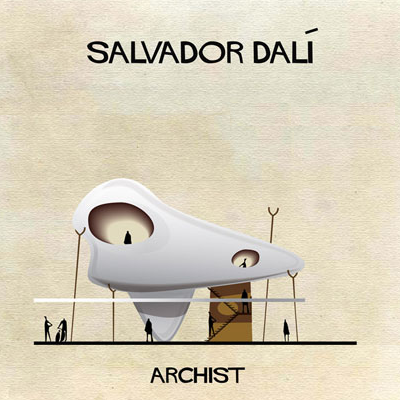 Salvador Dali's flowing shapes do translate into a surreal tiny house. Is it a spaceship or dino fossil? There's a full floor and large loft inside this sui-generis place. (Archist)
