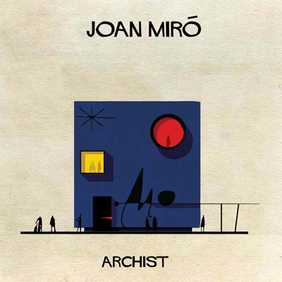 Joan Miro used signature shapes in his surrealist art, honored here. This playful home must have the right paint and window treatments. Anyone like brightly colored glass? (Archist)