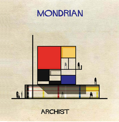 Isn't this Piet Mondrian perfect? He loved those colored squares and boxes, which don't represent anything. We are ready to build this amazing tiny house! (Archist)