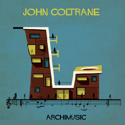 Aah, jazz melodies can be heard from John Coltrane's saxophone here. This instrument shaped building is a sweet homage, with several stories for inhabitants. (Archimusic)