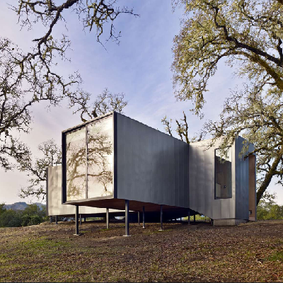 Architizer Finalist: USA. This three winged structure is built on steel stilts to avoid tree roots, in Ukiah, CA. From architect Mork Ulnes (Moose Road)